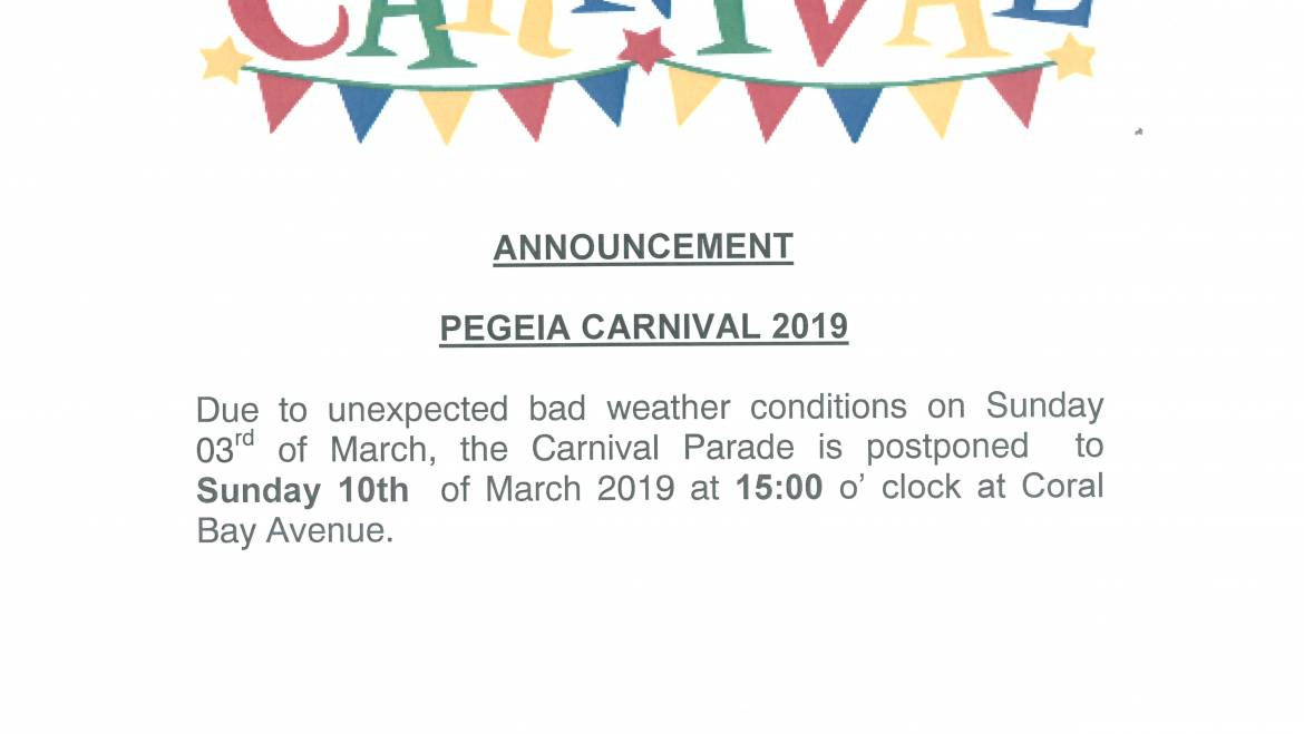Postponement of the Carnival Parade