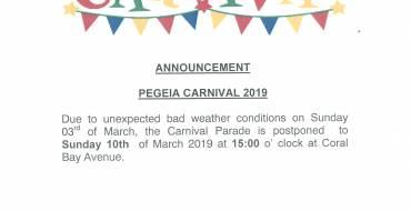 Postponement of the Carnival Parade