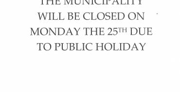 PUBLIC HOLIDAY ON THE 25TH OF MARCH